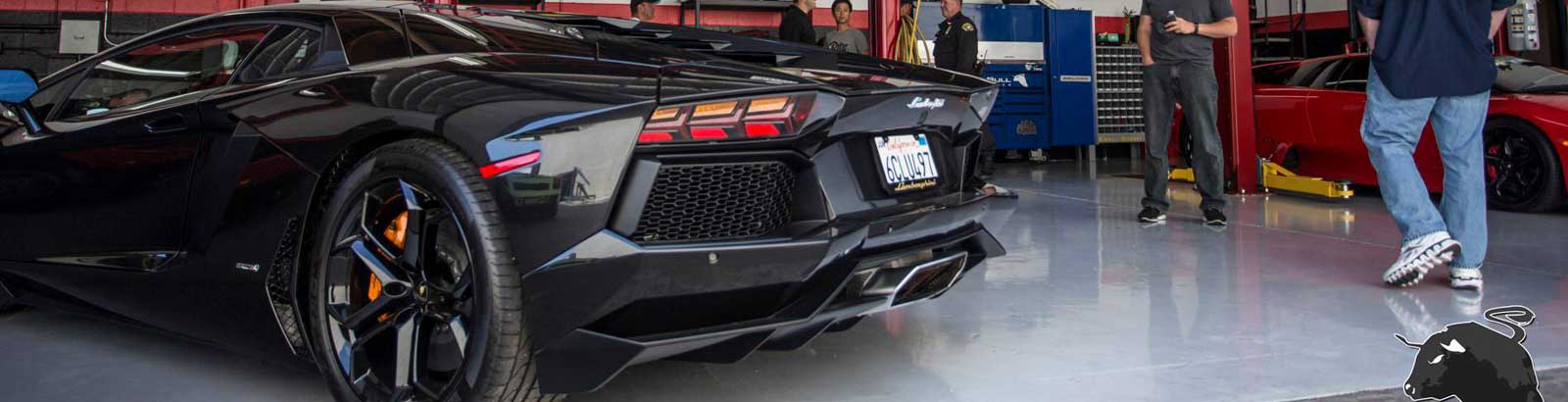 Lamborghini being serviced at Raging Bull Performance